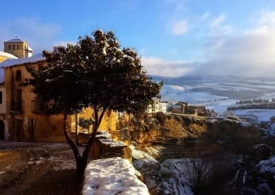 Winter snow in Alhama de Granada, Andalucia, Spain